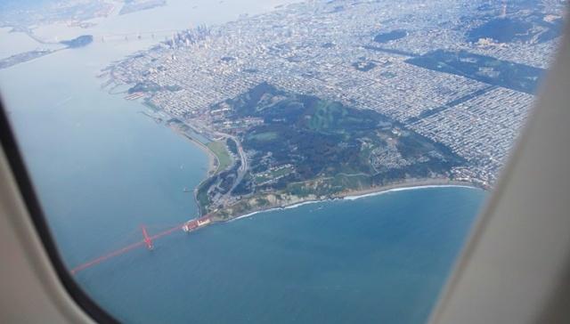 Golden Gate Bridge, UA 747, Upper Deck, Overhead shots