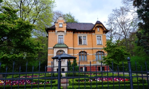 Aalen Germany, Tulips, classic house, brick house