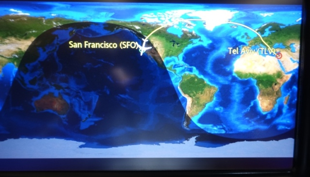 Airplane Map, Tel Aviv, San Fransisco, Long Flight