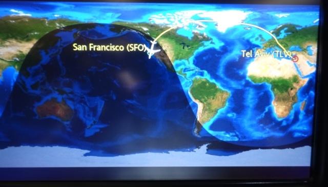 Airplane Map, Tel Aviv, San Fransisco, Long Flight