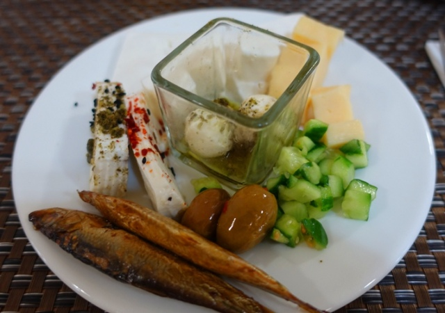 Galilee, Leonardo, Tiberias, cheese plate, small fish, olives