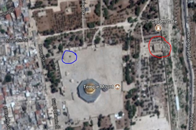 Temple Mount, Jerusalem, Google Maps, Dome of Tablets, Eastern Gate, Temple
