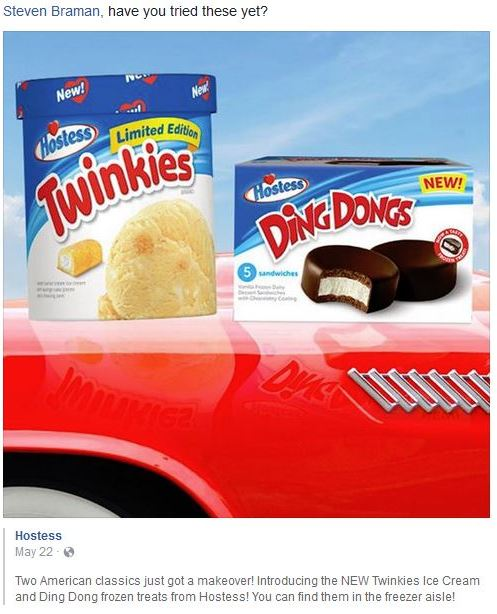 Hostess, Twinkies Ice Cream, Ding Dongs Ice Cream