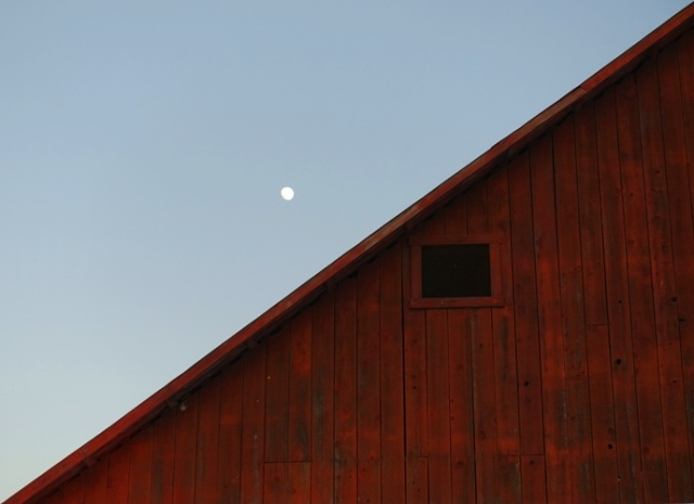 Barn and Moon, Country Scene, Red Barn, Barn