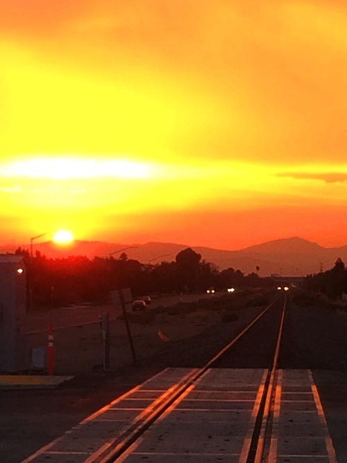 California Sunset, Altamont, Mount Diablo, rails to sunset
