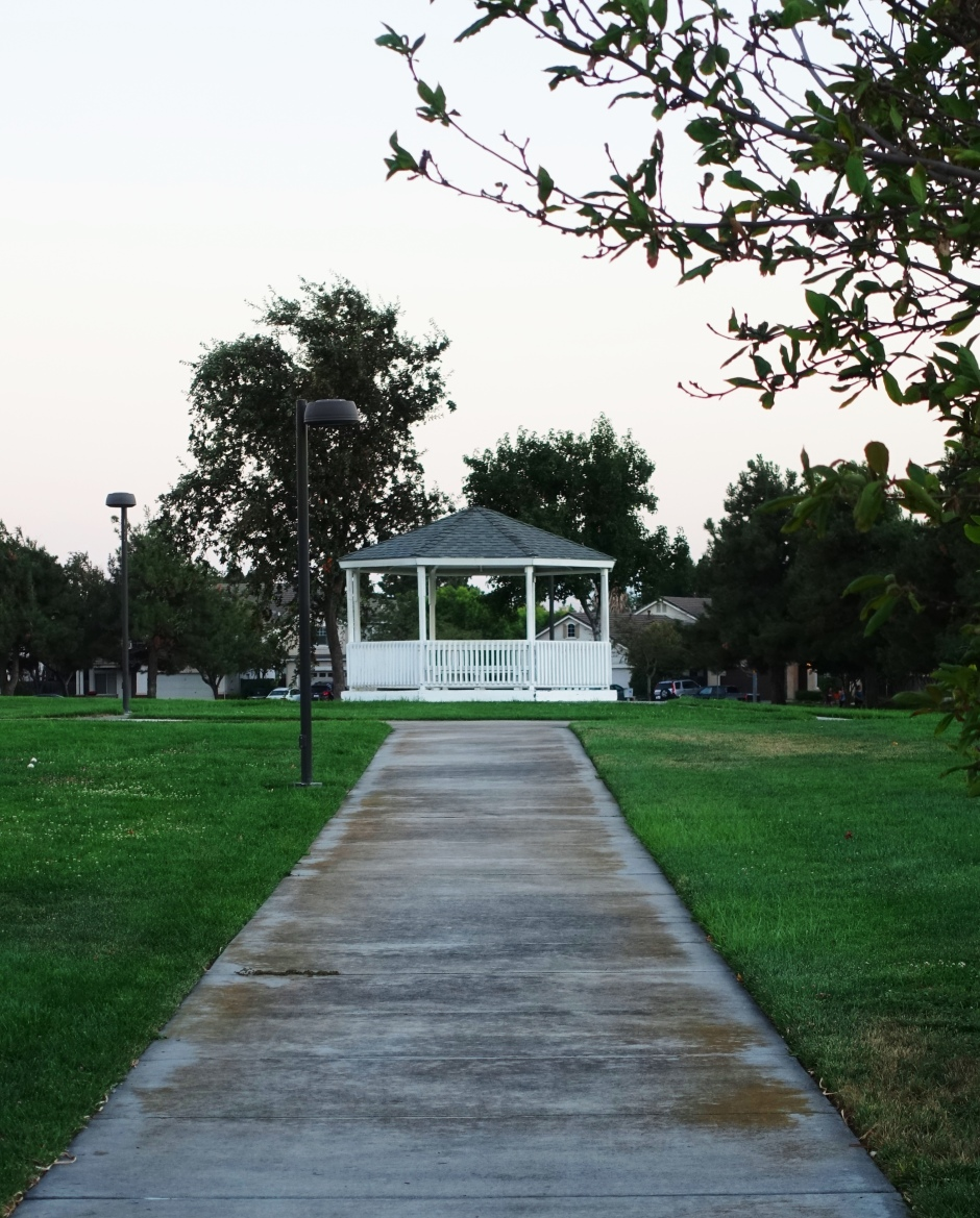 Gazebo, park, california, tracy, sidewalk