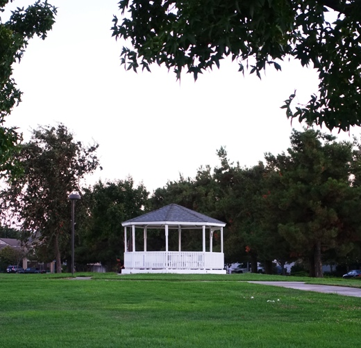 Gazebo, park, zanussi, park at dusk