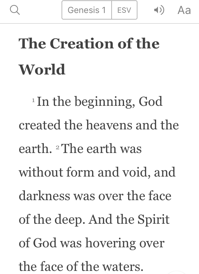 In the beginning, listening to the world, youversion