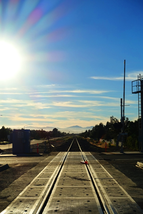 Railroad tracks, tracy, mt. diablo, california, sun setting