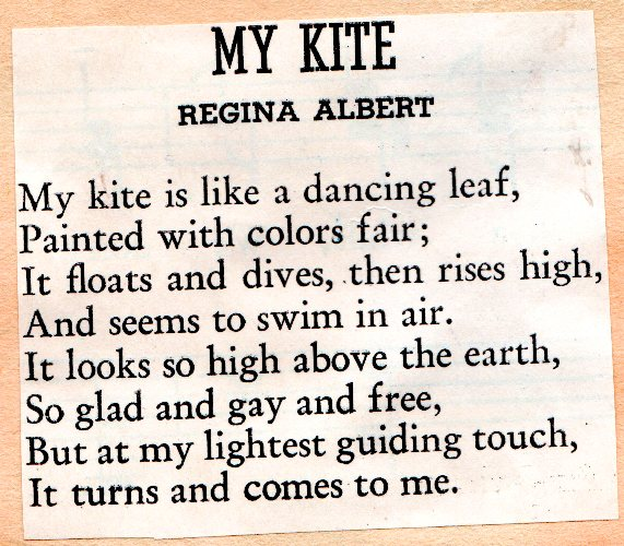 My Kite, Poem, Regina Albert, Kite Poem