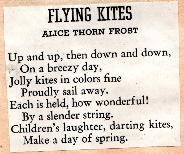 Poem, Alice Thorn Frost, Flying kites