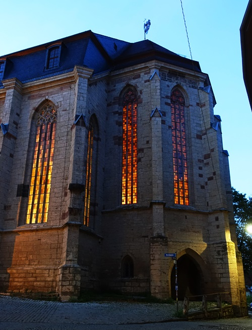 Stadtkirche St. Michael, Jena, germany, windows, church at night