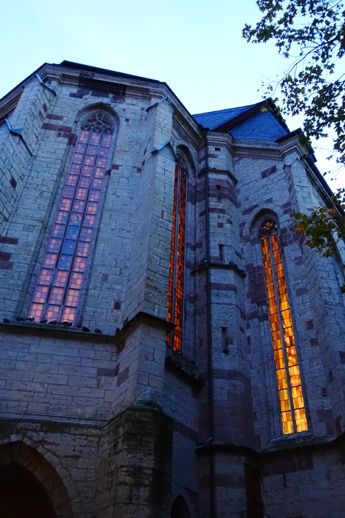Stadtkirche St. Michael, Jena Germany, windows, night