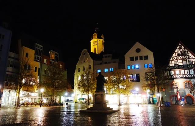 Jena Market Square, Jena, Germany, rainy night