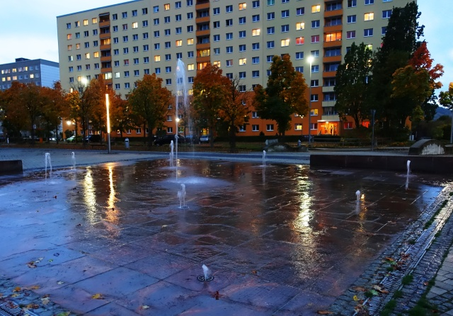 Fountain in rain, Jena, Lobeda