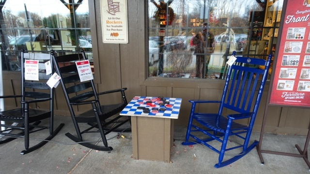Cracker Barrel, Front Porch, Rockers, Checkers, rocking chairs