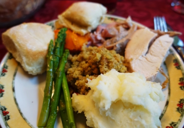 Plate of food, Christmas feast, A little green, comfort food