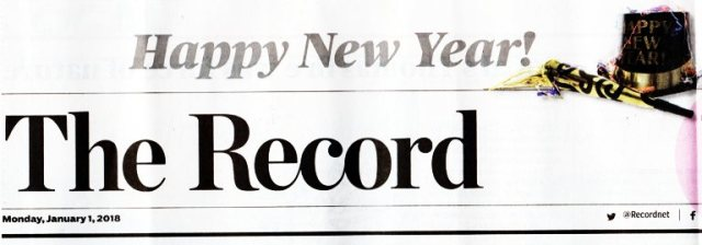 New Year, Stockton Record, Headlines, Newspaper