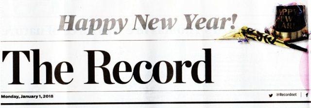 New Year, Stockton Record, Headlines, Newspaper