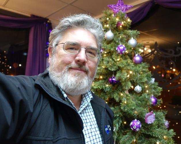haircut, Me with tree, white beard, Christmas, Santa