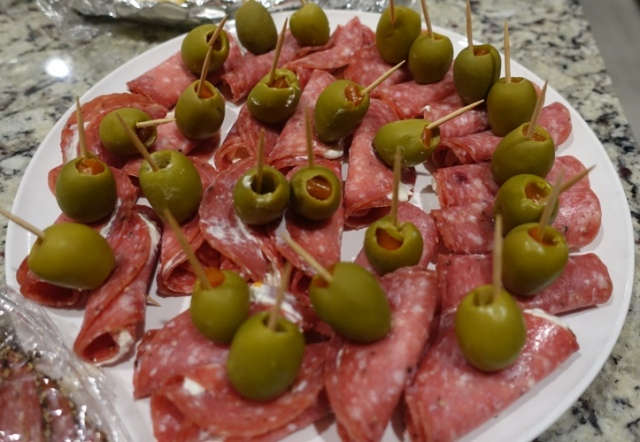 Salami, Olives, cream cheese, finger foods