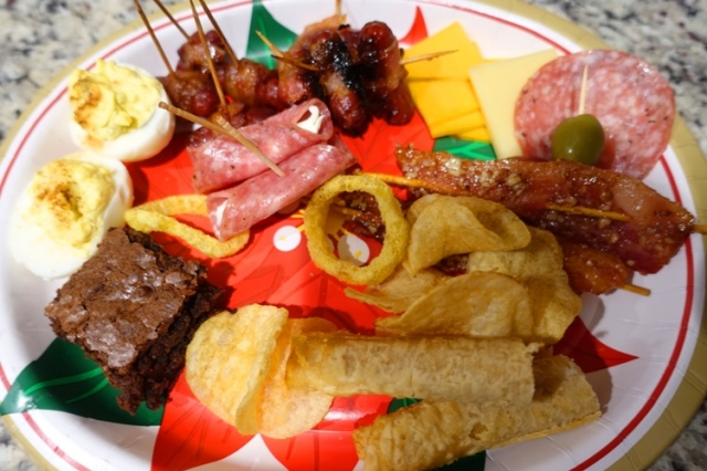 party food, finger foods, bacon, brownies, salami, chips