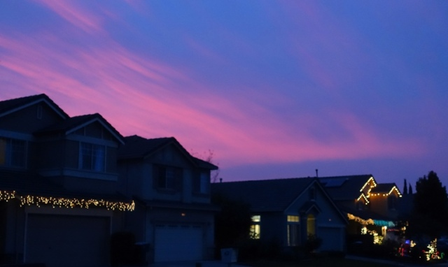 Christmas Lights, Sunset, Dusk