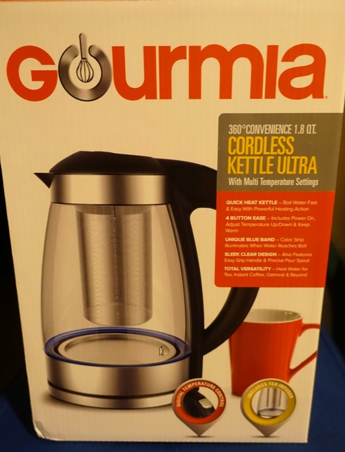 Electronic tea kettle, gourmia, programable tea kettle