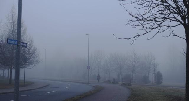 Foggy street, sidewalk, morning fog