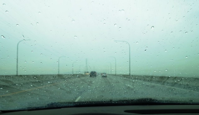 Rainy Day Travel, Driving in Rain, San Mateo Bridge, Raindrops, Windshield