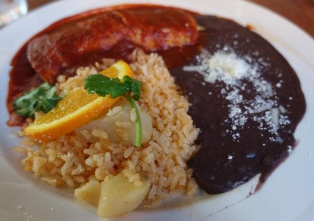 Blue Agave, Chicken Enchilada, Beans, Rice, Pleasanton