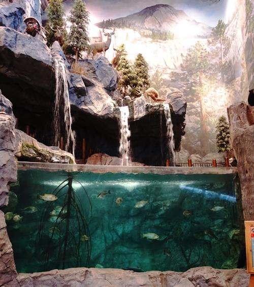 Waterfall, Lake, Mountains, Bass Pro Shops, Manteca