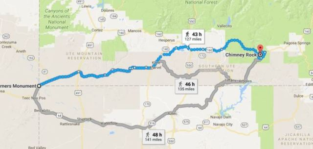 Virtual Hike, Chimney Rock, Colorado, Four Corners, Google Maps