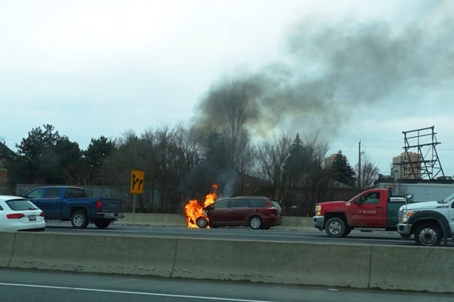 Car Fire, Toronto, 401, Commute Fire