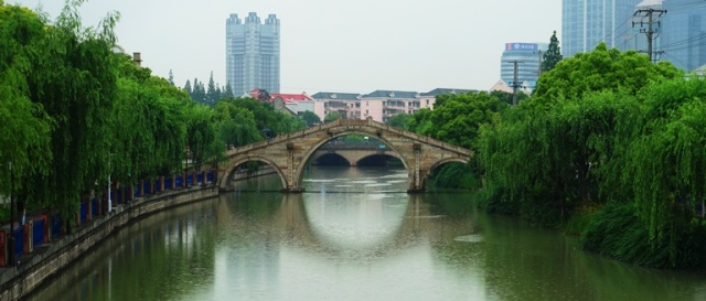 Old Chinese Bridge, Shanghai, River, Canal