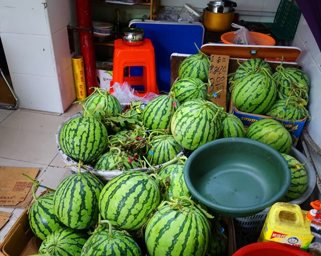 Watermelons with stems, Shanghai Fruit Vendor