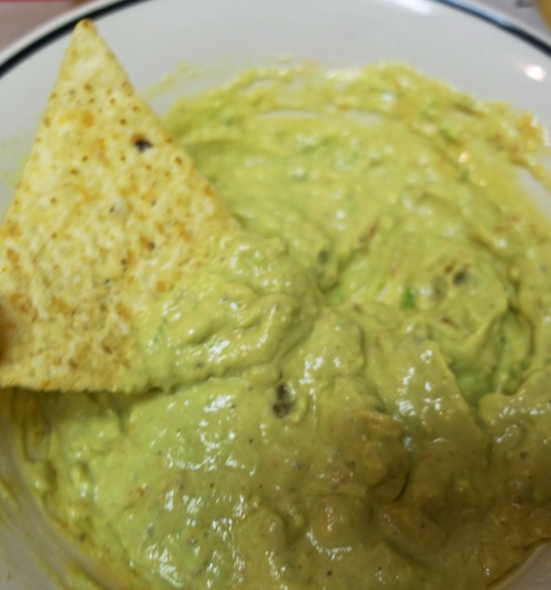 Guacamole, avocado, pepper, garlic salt, sour cream, salsa, olive oil