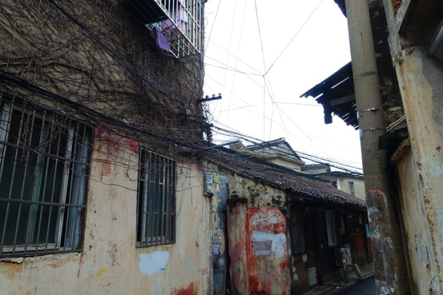 Power Lines, China, Pudong, Shanghai, small street