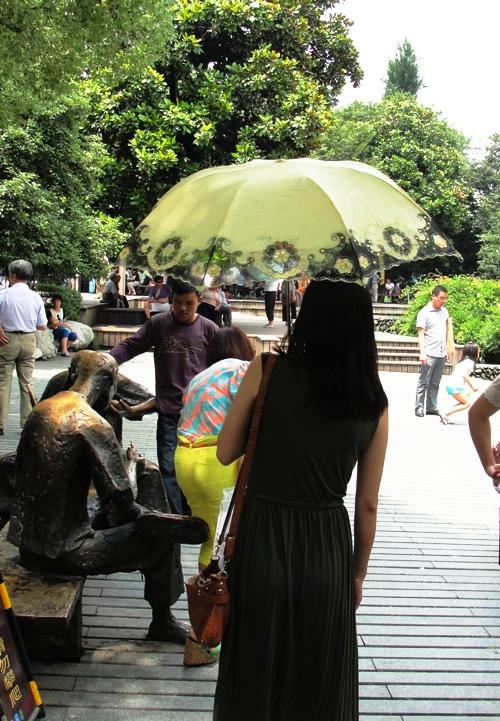 Umbrellas, West Lake, Hangzhou China, Sunny Day