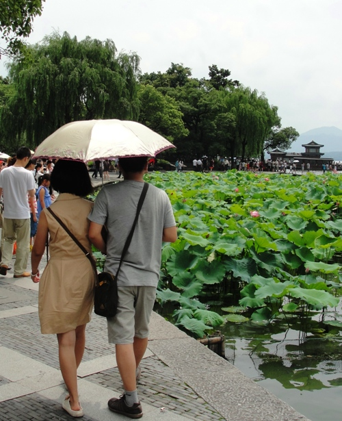 Umbrellas, West Lake, Hangzhou China, Sunny Day