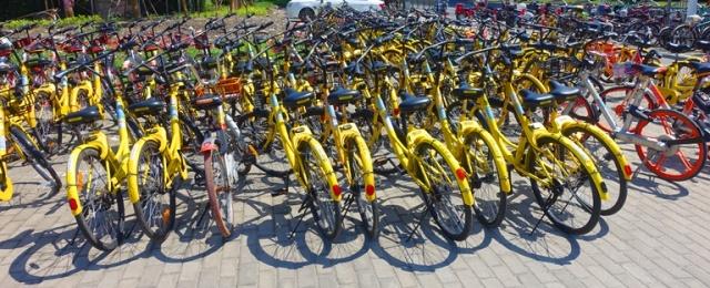China bicycles, Metro System, Shanghai