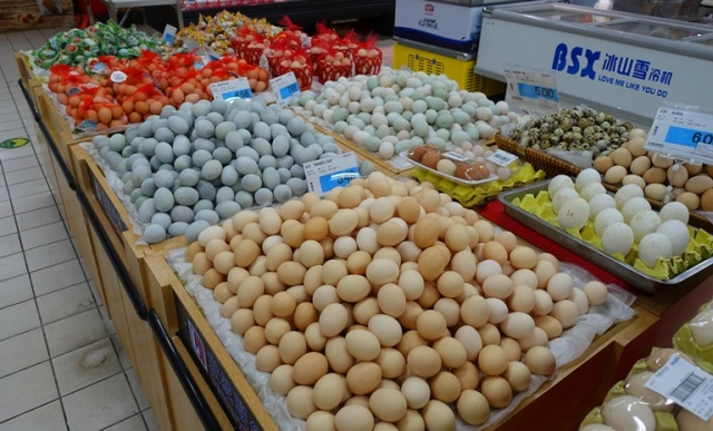 Chinese grocery store, egg display, eggs, packaging
