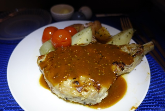 Pork Chop, Business Class Food, United, Polaris Class