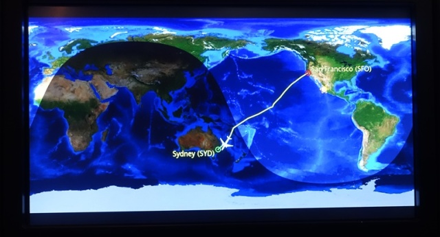 Airplane Map, SFO, SYD, United Airlines