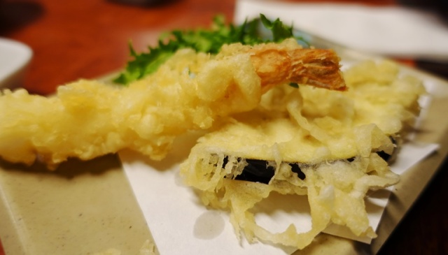 tempura prawns, tempura vegetables