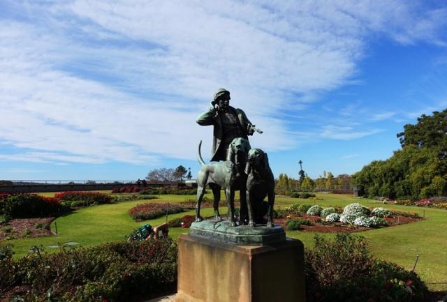 Huntsman and Dogs, Royal Botanic Gardens, Henri Jacquemart, Sculpture, Bronze