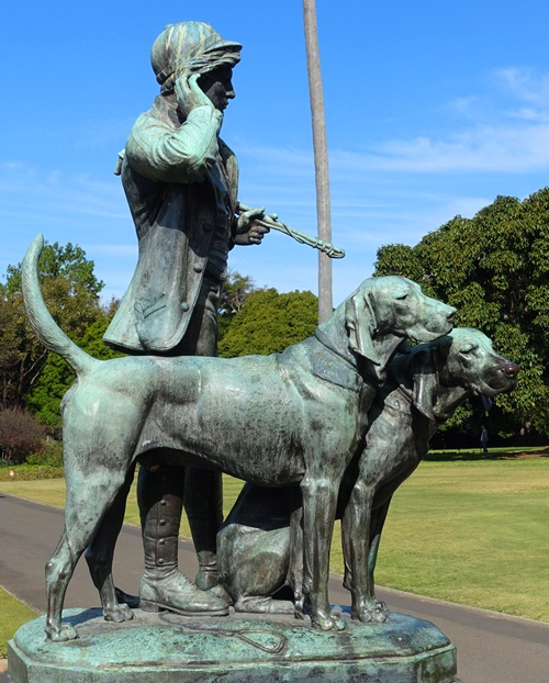 Huntsman and Dogs, Royal Botanic Gardens, Henri Jacquemart, Sculpture, Bronze