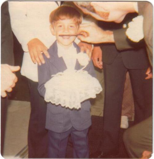 Wedding humor, ring bearer, mustache, comb