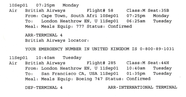 September 11 itinerary, South Africa, San Francisco, Memories, September 11