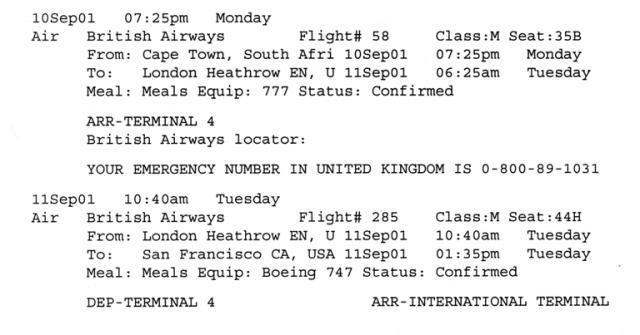 September 11 itinerary, South Africa, San Francisco, Memories, September 11